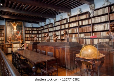 Antwerp, Belgium- 7 may 2015: Plantin press in the old centre of Antwerp - Library with old prints of Plantin workshop