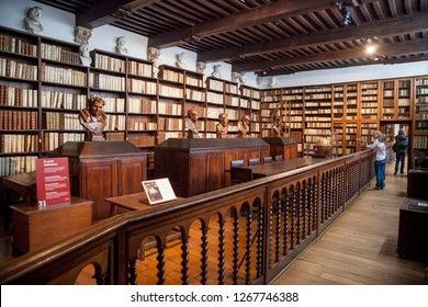 Antwerp, Belgium- 7 may 2015: Old 16th century Plantin - Moretus printshop /press in the old centre of Antwerp - Library with old prints of Plantin workshop