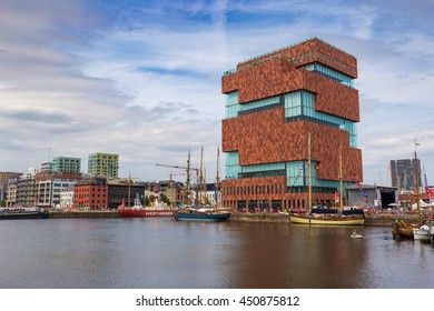 ANTWERP, BELGIUM - 9 JULY 2016: Museum aan de Stroom (MAS) along the river Scheldt in the Eilandje district of Antwerp, Belgium during The Tall Ships Race 2016 event