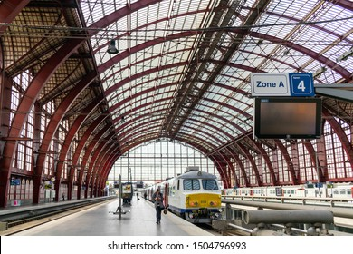 Antwerp, Belgium - 9 September 2019: Antwerpen Station Train Station, widely regarded as the finest example of railway architecture in Europe. Train travel . Architecture background. Cultural