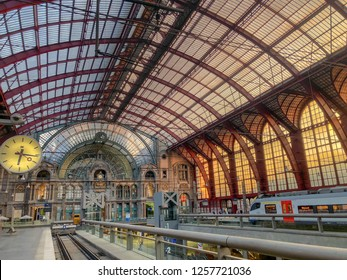 Antwerp, Belgium - Anno 2018: Inside the monumental Antwerp Train Station. Antwerp Central is often considered to be one of the most beautiful railway stations in the world.