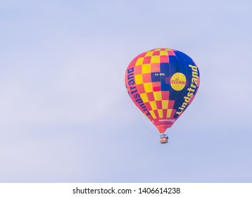 Antwerp, Belgium, April 23, 2019, Hot air balloon from lindstrand technologies flying in the sky, popular ballooning company in the Benelux