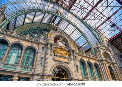 Antwerp, Belgium - April 26, 2019 - The interior of the Antwerp (Antwerpen), Belgium railway station.