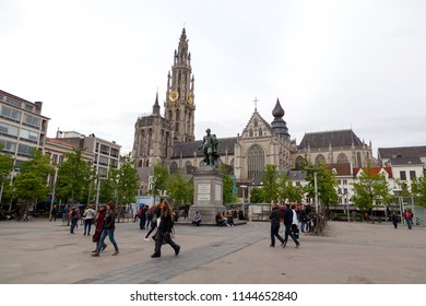 Antwerp, Belgium - April 28, 2018: Groenplaats Square with a view on the Cathedral of Our Lady and the Petro Paulo Rubens Statue