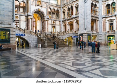 ANTWERP, BELGIUM - APRIL 29, 2017: Interior of the famous Antwerp Central Station with unknown travelers