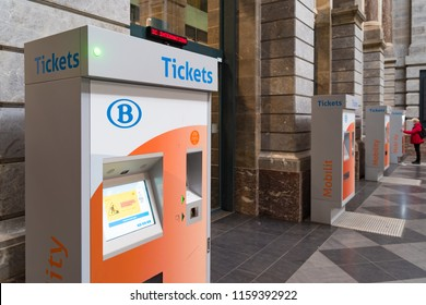 ANTWERP, BELGIUM - APRIL 29, 2017: Several ticket machines at the famous Antwerp Central Train station