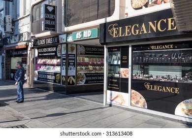 ANTWERP, BELGIUM - AUG 23: Diamond shops in the diamond quarter in the city of Antwerp. August 23, 2015 in Antwerp, Belgium