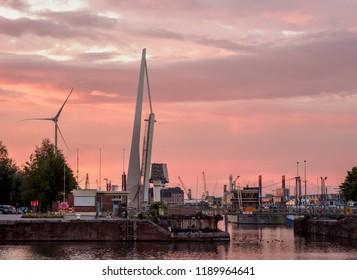 ANTWERP, BELGIUM - AUGUST 05, 2017: Bonapartedok at sunset.