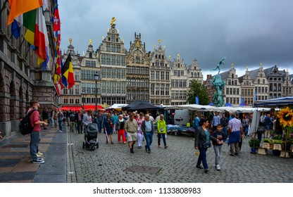 Antwerp / Belgium — August 15, 2015: Grote Markt in Antwerp, Belgium, during the Rubens Market Festival, which is held there every year on August, 15th