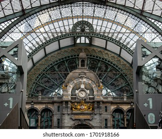 Antwerp, Belgium - August, 2019: The beautiful and famous Antwerp Central Station, also known as Middenstatie (Middle station) or Spoorwegkathedraal (Railroad Cathedral)