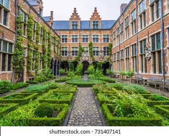 ANTWERP, BELGIUM - AUGUST 22, 2013: Courtyard of the Plantin-Moretus Museum, Antwerp, Belgium.