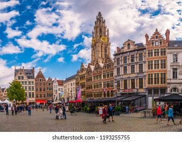 Antwerp, Belgium - August 25, 2018 : Market square and Cathedral of Our Lady,Cityscape of Antwerp, the capital of Antwerp province in Flanders and most populous city proper in Belgium.