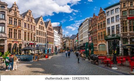 Antwerp, Belgium - August 25, 2018 : Cityscape of Antwerp, the capital of Antwerp province in Flanders and most populous city proper in Belgium.
