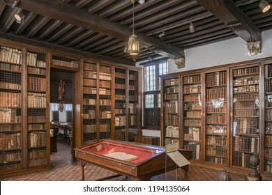 Antwerp, Belgium - August 30 2008: Interior of the historical residence and printshop of the 16th century printers Christophe Plantin and Jan Moretus, today known as the Plant-Moretus Printshop.