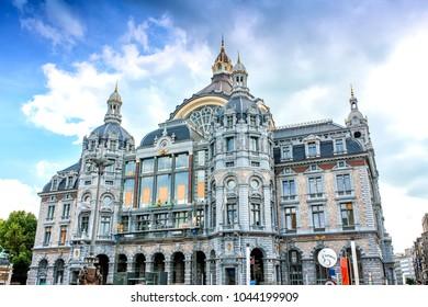 ANTWERP, BELGIUM - AUGUST 4, 2011: Exterior of Antwerp main railway station in Antwerp, Belgium. The station was built between 1895 and 1905.