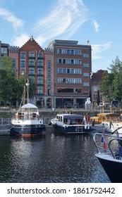 Antwerp, Belgium - August 6, 2018; Several pleasure yachts moored in the marina Willemdok