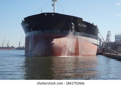 Antwerp, Belgium - August 6, 2018; The crude oil tanker 'Aldane' is moored at a quay in the port area of Antwerp
