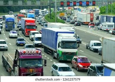Antwerp, Belgium - circa 2008 - editorial image of slow highway traffic during peak hours.