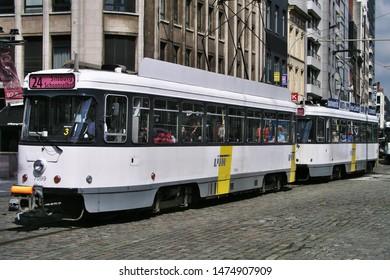 Antwerp, Belgium - December 20 2015: The tram in the old town street in Antwerp, Belgium