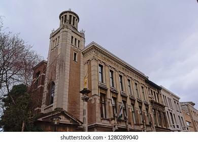 ANTWERP, BELGIUM, DECEMBER 20, 2018, Lesotho consulate of honour in a historical jugndstil building , Antwerp, 20 December 2018