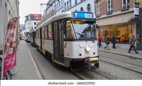 Antwerp / Belgium - December 21 2019: An old flemish De Lijn tram (PCC car) in the inner city of Antwerp. (Public Transport: Tram line 7 to Mortsel Eilandje)