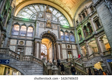 Antwerp, Belgium - December 7, 2019: Entrance hall of the Central railway station. Antwerpen-Centraal is the main train station in the Belgian city of Antwerp.