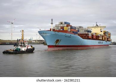 ANTWERP, BELGIUM - FEBRUARI 26: Sofie Maersk in Berendrechtsluis in the port of Antwerp on Februari 26, 2015 in Belgium.