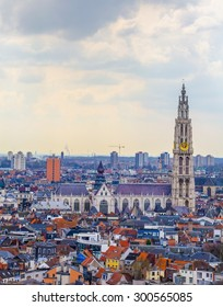 ANTWERP, BELGIUM, FEBRUARY 21, 2014: View over Antwerp with cathedral of our lady taken from the top of mas museum.