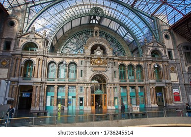 ANTWERP, BELGIUM - February 24, 2017: Interior of Antwerpen-Centraal (Antwerp Central) is the name of the main railway station in the Belgian city of Antwerp