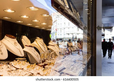 Antwerp, Belgium - February 25, 2015: Jewelry store in Antwerp's diamond district. The city is famous for diamond trade for several centuries.