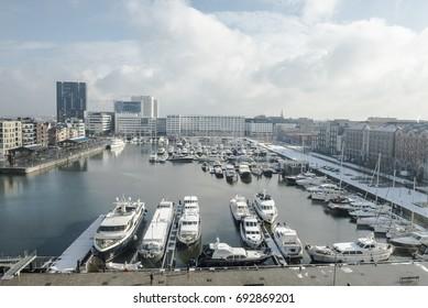 ANTWERP, BELGIUM - FEBRUARY 3RD 2015: Aerial view of Antwerp harbor from museum MAS roof terrace