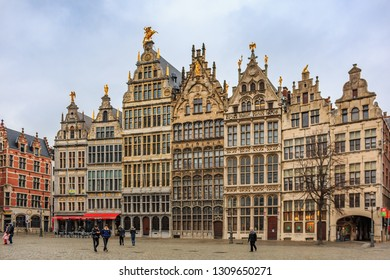 Antwerp, Belgium - January 18, 2015: Cityscape with traditional brick gothic medieval guildhouses on Grote Markt square, historic Great Market square in old town
