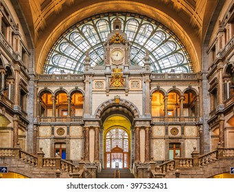 Antwerp, Belgium - January 18, 2015: Hall of the famous restored Antwerp Central Train Station