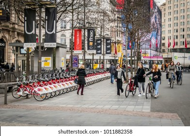 ANTWERP, BELGIUM. January 26, 2018. Bicycles lined up at the Antwerp Velo bike rental station at the central Meir street.