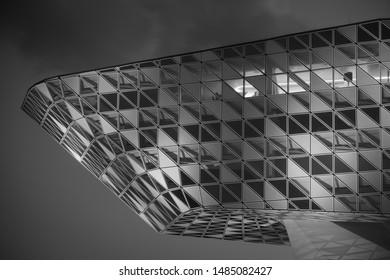 Antwerp, Belgium - July 1 2019: Porthouse Antwerp designed by Zaha Hadid, Havenhuis Antwerpen by night