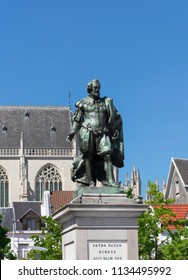 Antwerp, Belgium - July 14, 2018: Statue of painter Peter Paul Rubens in Antwerp high on his column
