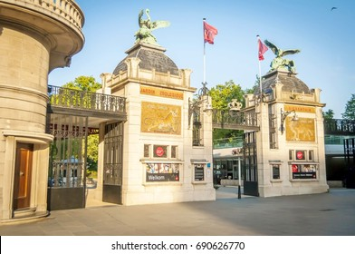 ANTWERP, BELGIUM. July 18, 2017. The main entrance gate of the Antwerp Zoo next to the Antwerpen-Centraal railway station and is the oldest zoo park in Belgium and one of the oldest in the world.