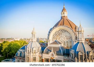 "ANTWERP, BELGIUM. July 18, 2017. The dome of the Antwerp Central Railway Station (""Antwerpen Centraal"") building in central Antwerp."