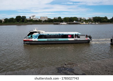 Antwerp, Belgium, July 19, 2020, The waterbus with people on board on the right bank