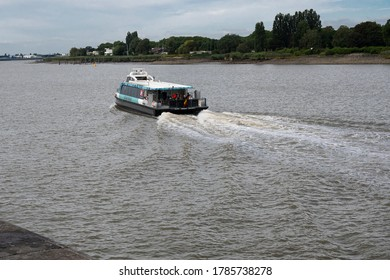 Antwerp, Belgium, July 19, 2020, The waterbus departs from the right bank