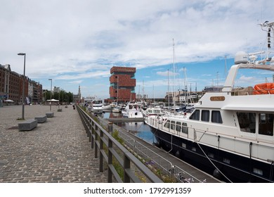 Antwerp, Belgium, July 19, 2020, The museum on the river also called the MAS with the marina and boats