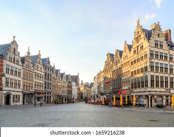 Antwerp, Belgium - July 2, 2019: Houses on the central square of the city - Grand Place