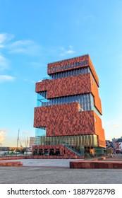 Antwerp, Belgium - July 2, 2019: The Museum MAS aan de Stroom (The Museum aan de Stroom) is a museum located along the river Scheldt