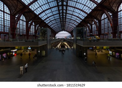 Antwerp, Belgium - July 20 2019: View inside the atrium of the Antwerp Central Train Station