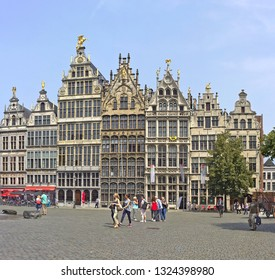 Antwerp, Belgium - July 22, 2014: Antwerp Grote Markt square with medieval buildings and tourists