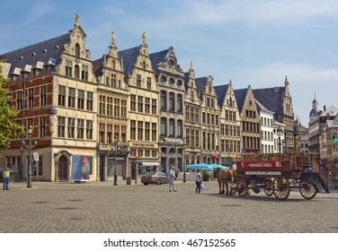 ANTWERP, BELGIUM - JULY 22, 2014: Antwerp Grote Markt with medieval buildings and horse carriage