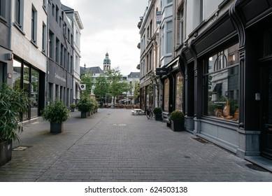 Antwerp, Belgium - July 28, 2016:  Commercial street in Antwerp at sunset with no people. It is a city in Belgium in the region of Flanders. It has the biggest port in Belgium.
