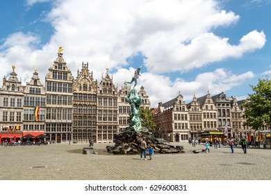ANTWERP, BELGIUM - JULY 5, 2016 : Historical city hall and old town of Antwerp with stylish architecture. Antwerp is the capital city in the region of Flanders, Belgium