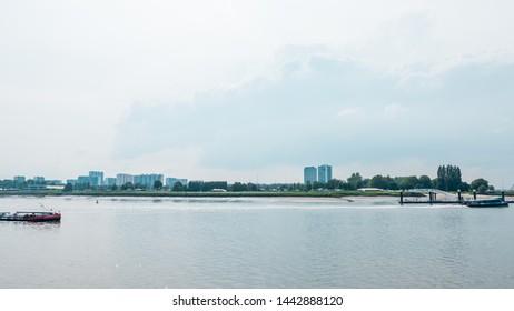 Antwerp/ Belgium June 12 2019 : A view of the skyline and landmarks of Antwerp. Harbour and port near the river Schelde