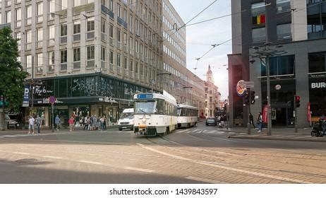 Antwerp, Belgium - June 25, 2018 : A electric tram in downtown Antwerp. Antwerp is a attractive destination in Belgium.